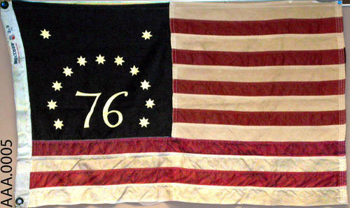 This artifact is a 1777 Bennington Flag.  CONDITION:  This artifact is somewhat soiled and yellowed.