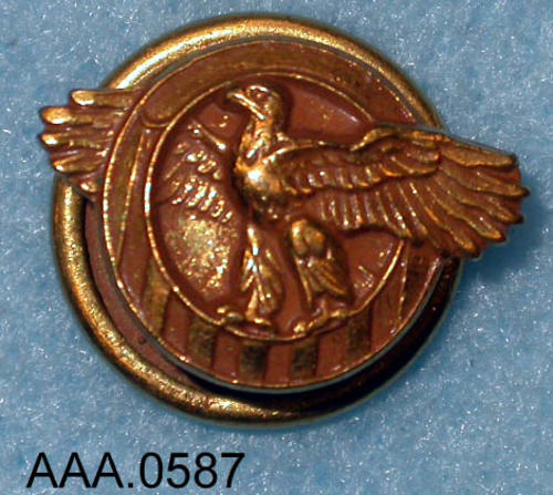 This artifact is a small, army discharge, lapel pin from WWII.  It is gold in color and is called the Ruptured Duck.