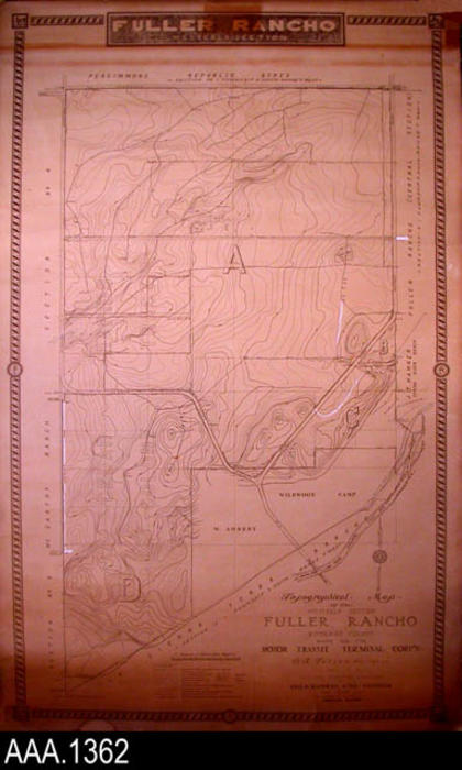 "This artifact is is a 39"" x 64"" topographical map of the Westerly Section of Fuller Rancho in Riverside County.  The map was made for the Motor Transit Terminal Corp'n - O. R. Fuller, President - Los Angeles Calif.  All surveying - recording and mapwork ws done by Geo. O. Bauwen, Civil Engineer -  Long Beach, Calif.  The map is dated March 1928 with additions made June 1930.  CONDITION:  The map is turning brown, especially at the bottom."