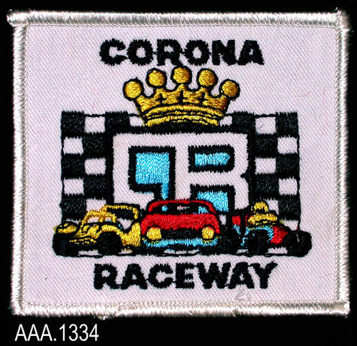 "This artifact collection consists of two identical clothing patches used by the Corona Raceway.  The 3"" x 3 1/4"" patch is white with black text.  At the top of the patch is the word, ""CORONA,""  and at the bottom is the word, "" RACEWAY.""  Between these two words is a gold crown with a checkered flag having the initials CR in the center.  In front of the flag are three racing vehicles in red, yellow, and blue."