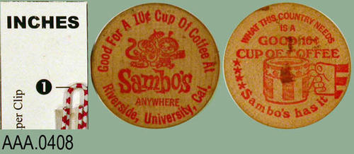 This artifact is a wooden token from Sambo's good for a ten cents cup of coffee.  There is writing on both side of this artifact.