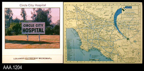 "This artifact is a small fold-out map covering four counties:  Los Angeles, Orange, Riverside, and San Bernardino.  On the map, a large blue arrow points to the location of the Circle City Hospital.  On the front of this matchbook style map holder is a photo of a sign that says, ""Circle City Hospital.""  Text on the cover reads: ""Circle City Hospital - (Photo) - Los angels Freeway Micromap.""  Text on the back reads:  ""AMI - Circle City Hospital - 730 Old Magnolia Ave. - P. O. Box 310, Corona, 91720 - (714) 735-1211 - An American Medical International, Inc. - Health Care Center."" This micromap holder measures 3"" x 3"" x 1/4""."
