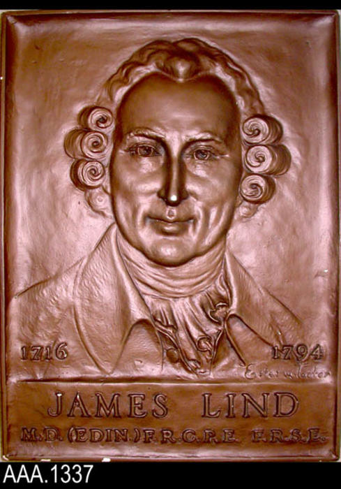 "This artifact is a plaster cast, painted copper color of a plaque presented to the University of Edinburgh.  The front of the plaque has a relief of James Lind, M.D. with text that reads as follows:  ""1716-1794 - James Lind - M.D. (Edin) F.R.C.P.E. - F.R.S.E.""  The plaque is signed in the lower right corner by Estes Tarter. On the back of the plaque is a brass plate that reads as follows:  ""Conqueror of Scurvy - Portrait cast from Memorial Plaque - Presented to University of Edinburgh - by - Sunkist Growers - May 22, 1953.""  CONDITION:  Paint is chipped in various places revealing the white plaster."