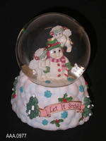 """Let It Snow"" Snow Globe/Music Box - Clay/Glass/Water"
