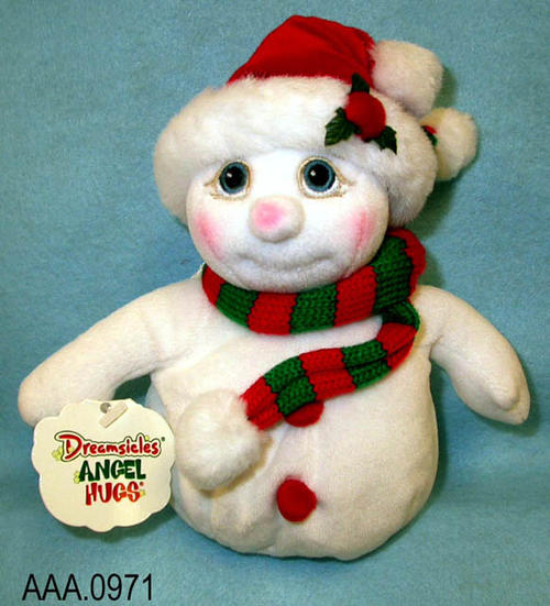 "This artifact collection consists of six stuffed Christmas characters named Snowball #08096.  They were handcrafted in China and measures 8"" x 4"".  These Dreamsicles, Angel Hugs characters were ""born on March 20, 2000.""   CONDITION:  These artifacts are in excellent condition."