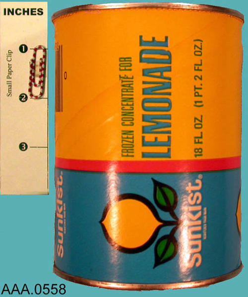 This artifact is a can for Sunkist Forzen Concentrate Lemonade.  It is an 18 oz. empty container.