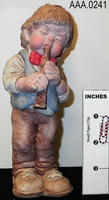Cast Art/Musician with Flute - Clay
