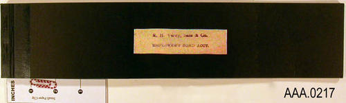 "This artifact is a receipt book that is labeled, ""R. H. Verity Sons and Co., Employees Bond Acct."""