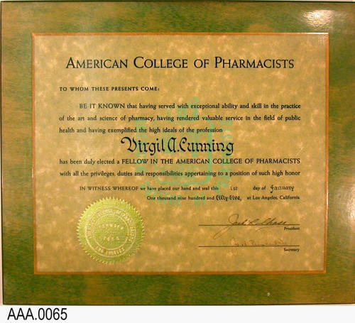 This artifact is Mr. Cunning's certificate of membership in the Southern California Pharmaceutical Association, 1971.