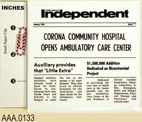 "This artifact consists of three identical tile trivets denoting the front page of the DAILY INDEPENDENT for January 1976.  The headline reads:  ""Corona Community Hospital Opens Ambulatory Care Center."""