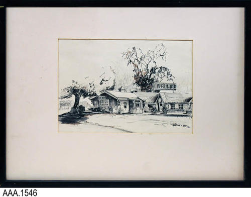 "This artifact is a framed charcoal drawing of the Live Oak Inn.  Today (2012) it operates as the Live Oak Inn Steakhouse at 21700 Temescal Canyon Rd, Corona, CA 92883  MEASUREMENTS:  W. 25 1/8"", H. 19 1/8"", Thickness: 1 1/8"", CONDITION:  The drawing is in very good condition; however the white matting has numerous marks on it.  It is loose in the frame.  There is no glass or other covering to protect the drawing.  COPIES: 1"
