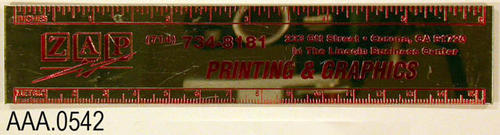"This artifact is a ruler that advertises, ""ZAP Printing."""