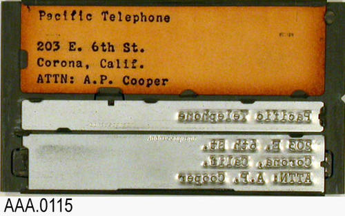 "This artifact collection consists of four address plates for the following businesses:  The Daily Enterprise, The Daily Independent, Southern California Gas Company, and the Pacific Telegraph.  The plates measure 4"" x 2 1/4""."