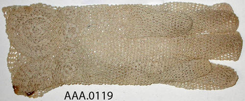 This artifact is a pair of small, off white, lined, lace gloves.