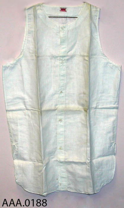 This artifact is a man's BVD T-shirt that is brand new, never worn and was purchased at the Emerson-Pauly Men's Store in Corona, California, circa 1920.  It appears to be a large size that was buttoned down the front and is sleeveless.  CONDITON:  The cloth is slightly yellowed.