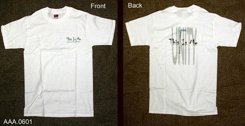 "This artifact is a white, size small, t-shirt.  On the left breast is text that reads:  ""This is me - Festival of Young Artists.""  The same text appears on the back."
