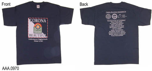 "This artifact collection consists of two, blue, T-shirts.  The darker blue shirt (pictured) is size L and the slightly lighter blue T-shirt (not pictured) is size M. The front of the T-shirt reads:  ""Corona Beautiful (with logo)  - Celebrating Our Neighborhoods - October 13, 2001.""  The back of the T-shirt has logos and/or text identifying the sponsors of the event."