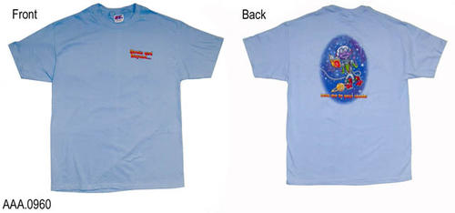 "This artifact is a blue T shirt (Adult L).  Text on the front reads: ""Books and Beyond....""  On the Back is a picture of an alien with the following text:  ""Take Me to Your Reader."""