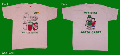 "This artifact is a white T-shirt with the following printed in color on the front:  ""WM -Waste Management - Buy Recycled - Recycle America.""  Also on the front  are the graphics of a one gallon bottle, stack of newspapers, a roll of paper towel, a soda can, and a cereal box.  On the back is the following text and graphic:  ""Official - a graphic - Earth Cadet."""