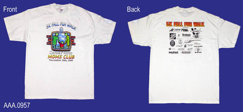 "This artifact is a white T-shirt (Adult L) with the following text in color on the front:  ""5K  Fall Fun Walk - Colored Logo - Corona/Norco - Moms Club - November 18, 2000."" On the back of the shirt it says, ""5K Fall Fun Walk,"" with text and logos for the sponsors of this event.  On the left shoulder is a small abstract logo depicting a mother and child."