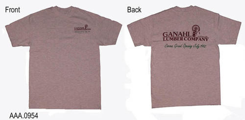 "This artifact is a T-shirt for the grand opening of Ganahl Lumber in July 1992.  On the front above the pocket in small text it reads:  ""Ganahl Lumber - Corona Grand Opening July 1992.""  This small text design on the front is repeated in a large text design on the back."