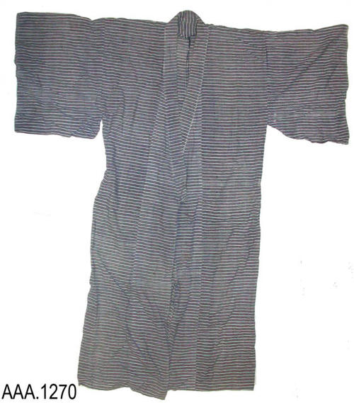 "This artifact is an adult sized, short sleeved robe with alternating dark blue and white stripes.  The blue strip has a white semi-circle design in it.  This robe measures 53.5"" from shoulder to hem and 23 .25"" from shoulder seam to shoulder seam."