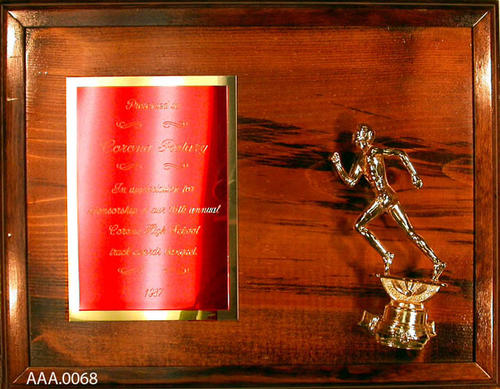 "This artifact is a 14 inch by 11 inch plaque.  It is inscribed as follows:  ""Presented to Corona Rotary in appreciation for sponsorhip of our 16th annual Corona High School Track Awards Banquet 1987."""