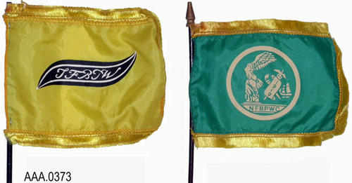 "This artifact collection consists of two miniture flags from the Business and Professional Women.  One flag is all yellow and the other is green with yellow.  Both flags have the initials NFBPWC, while only the green with yellow flag has the date 1919.  These flags measure 6"" x 5""."
