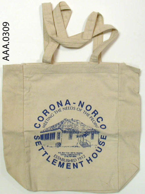 "This artifact is a cloth bag with the Settlement House logo on it. Donor's Remarks:  This bag was obtained at Corona's 1993 ""Business Fair."""
